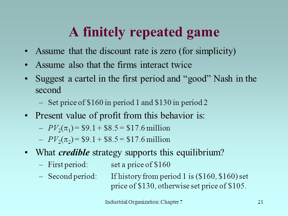 A finitely repeated game