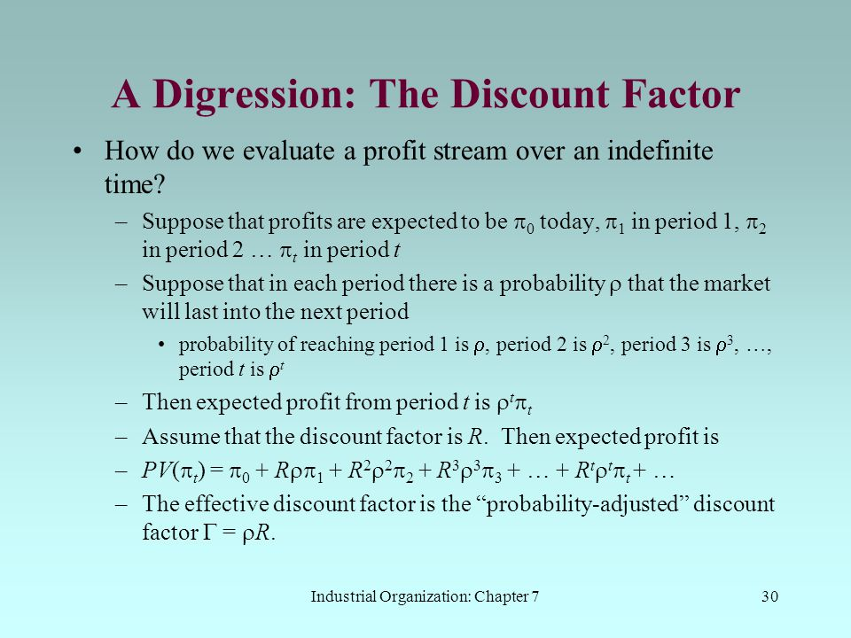A Digression: The Discount Factor