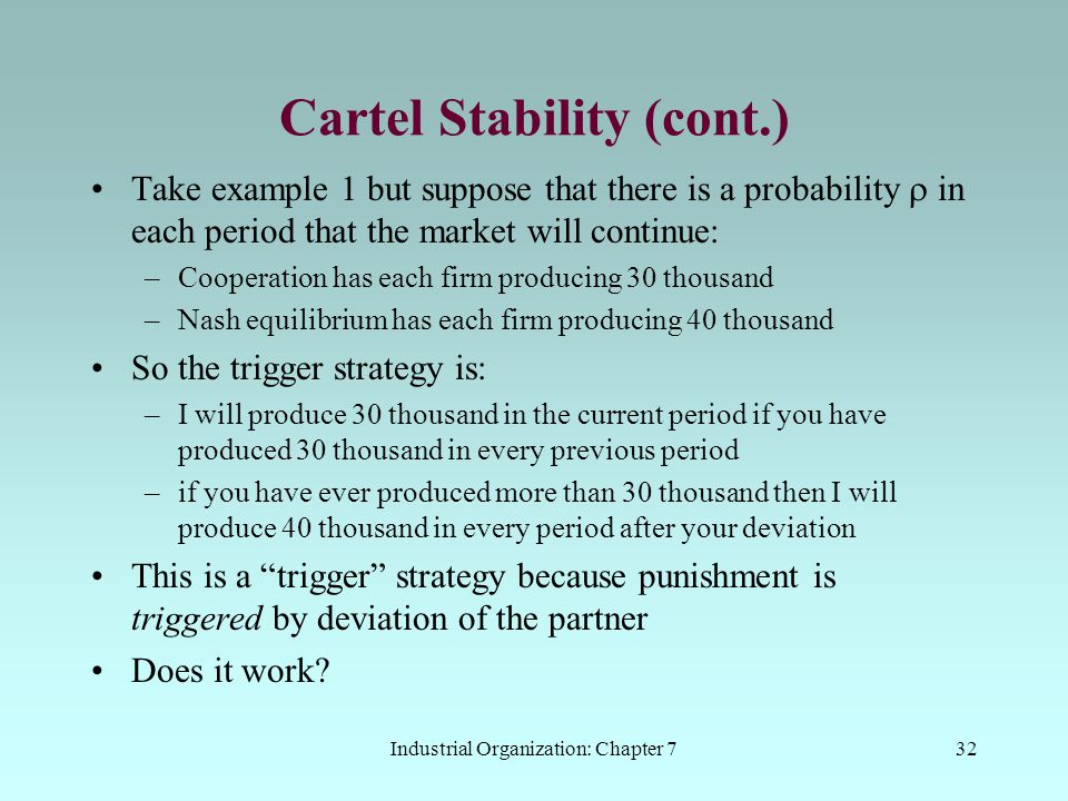 Cartel Stability (cont.)