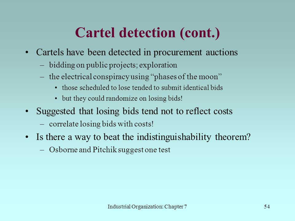 Cartel detection (cont.)