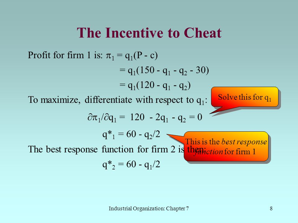 The Incentive to Cheat Profit for firm 1 is: p1 = q1(P - c)