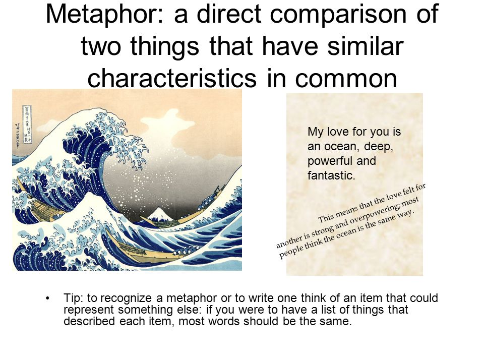 Metaphor: a direct comparison of two things that have similar characteristics in common