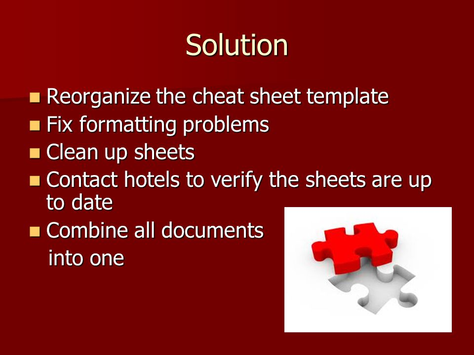 Solution Reorganize the cheat sheet template Fix formatting problems