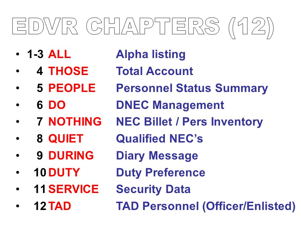 EDVR CHAPTERS (12) 1-3 4 5 6 7 8 9 10 11 12 ALL THOSE PEOPLE DO