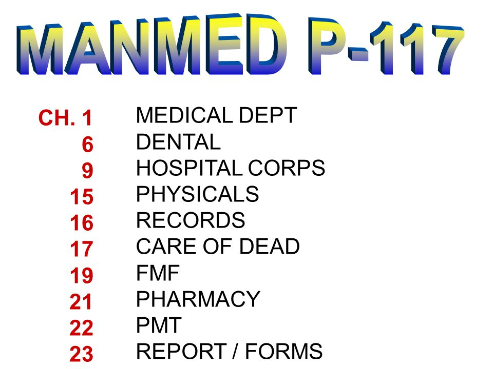 MANMED P-117 MEDICAL DEPT CH. 1 DENTAL 6 HOSPITAL CORPS 9 PHYSICALS 15