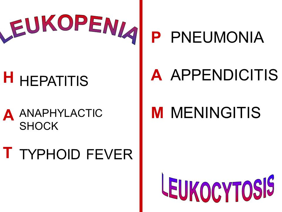 P A M PNEUMONIA APPENDICITIS MENINGITIS H A T LEUKOPENIA HEPATITIS