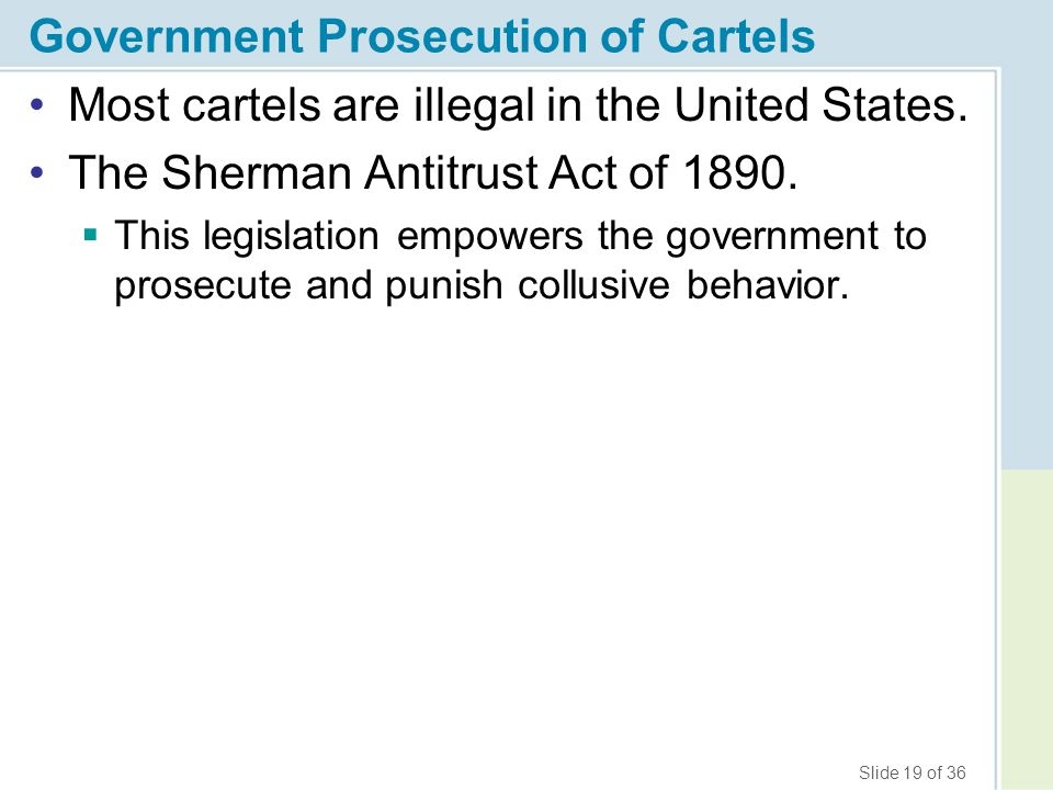 Government Prosecution of Cartels