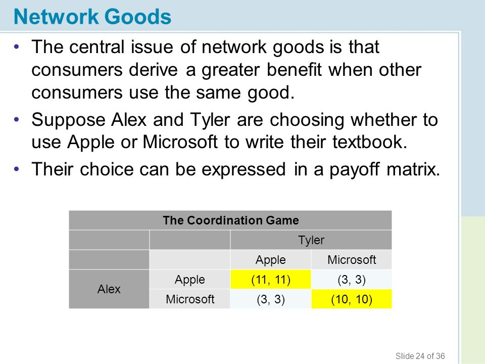 Network Goods The central issue of network goods is that consumers derive a greater benefit when other consumers use the same good.