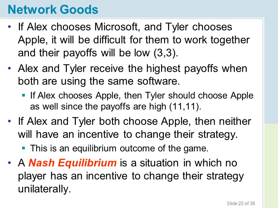 Network Goods If Alex chooses Microsoft, and Tyler chooses Apple, it will be difficult for them to work together and their payoffs will be low (3,3).