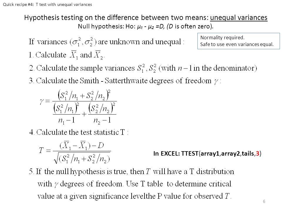 Quick recipe #4: T test with unequal variances
