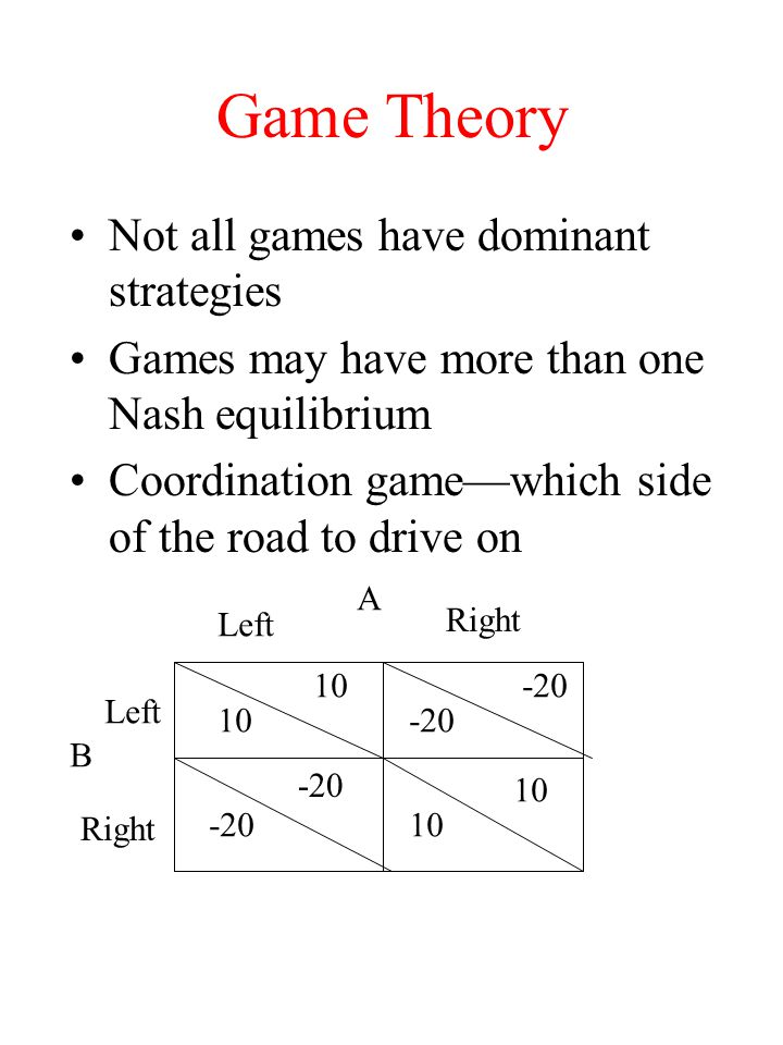 Game Theory Not all games have dominant strategies