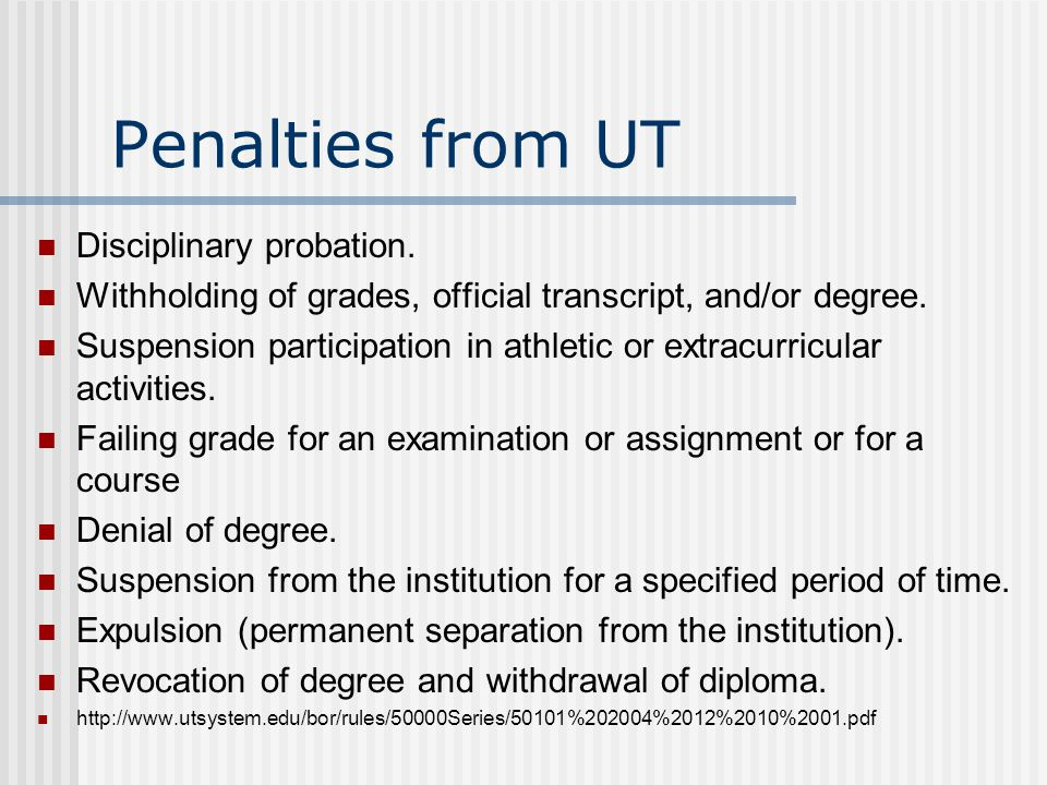Penalties from UT Disciplinary probation.