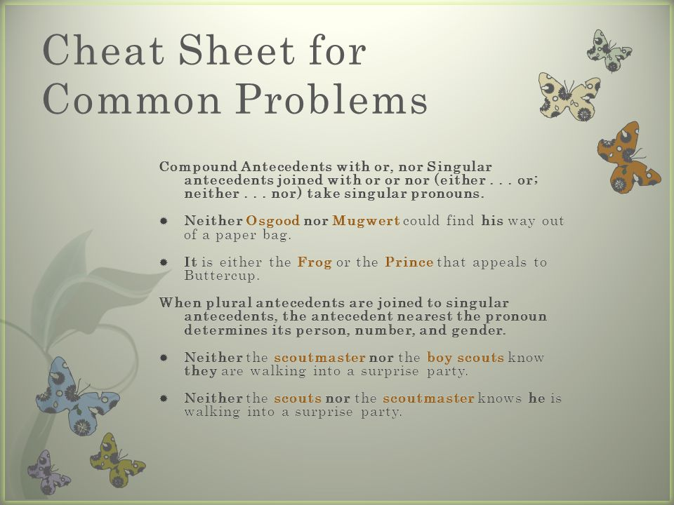 Cheat Sheet for Common Problems