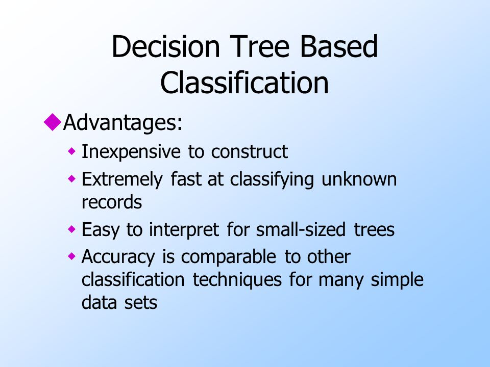 Decision Tree Based Classification