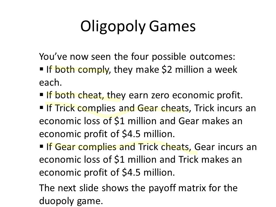 Oligopoly Games You've now seen the four possible outcomes:
