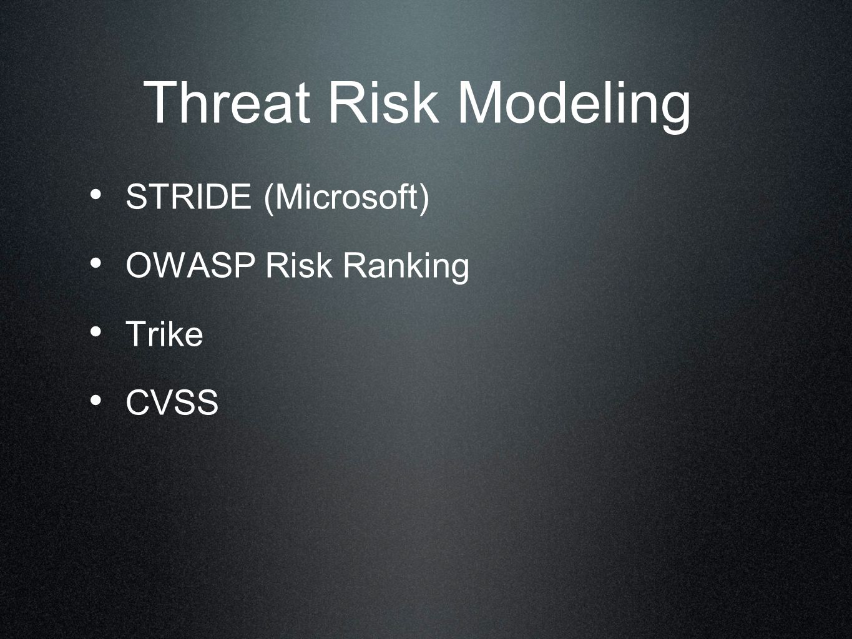 Threat Risk Modeling STRIDE (Microsoft) OWASP Risk Ranking Trike CVSS