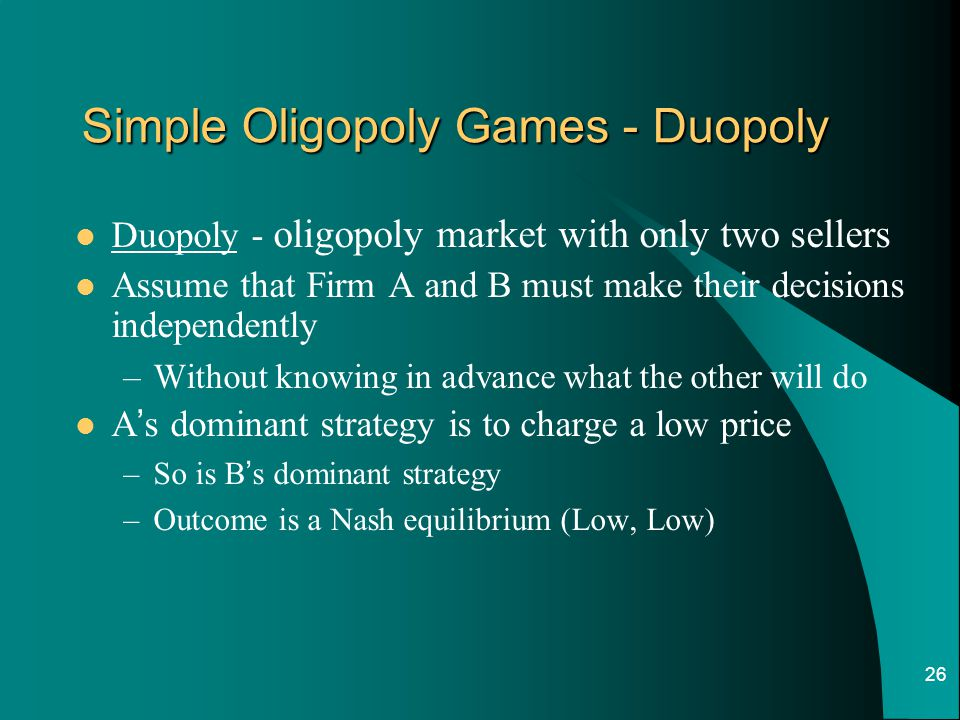 Simple Oligopoly Games - Duopoly