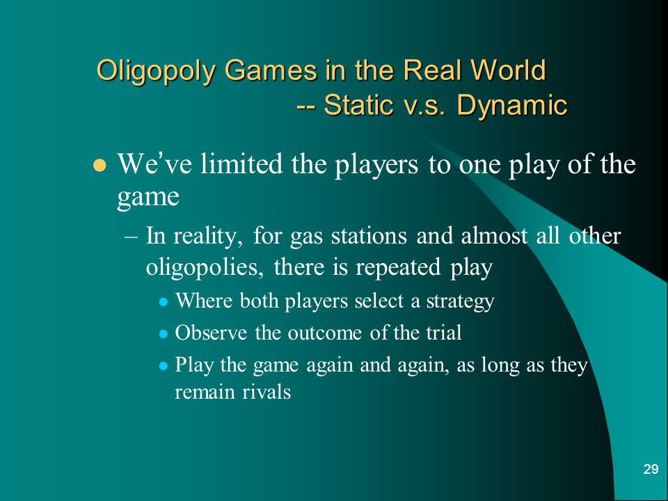 Oligopoly Games in the Real World -- Static v.s. Dynamic
