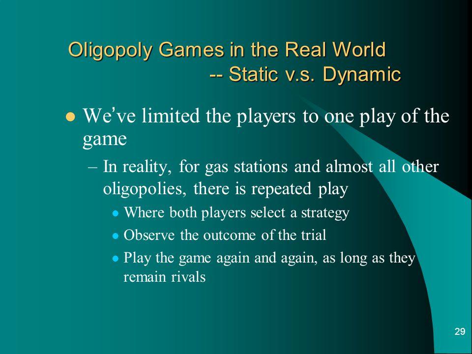 Oligopoly Games in the Real World -- Static v.s. Dynamic