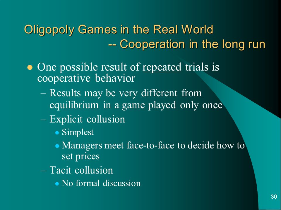 Oligopoly Games in the Real World -- Cooperation in the long run