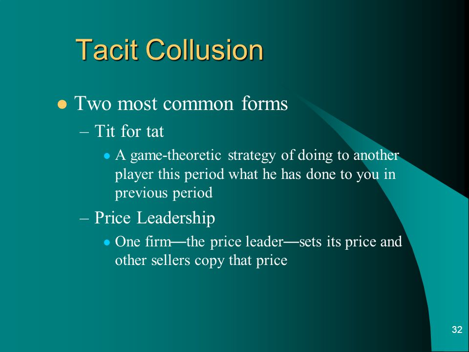 Tacit Collusion Two most common forms Tit for tat Price Leadership