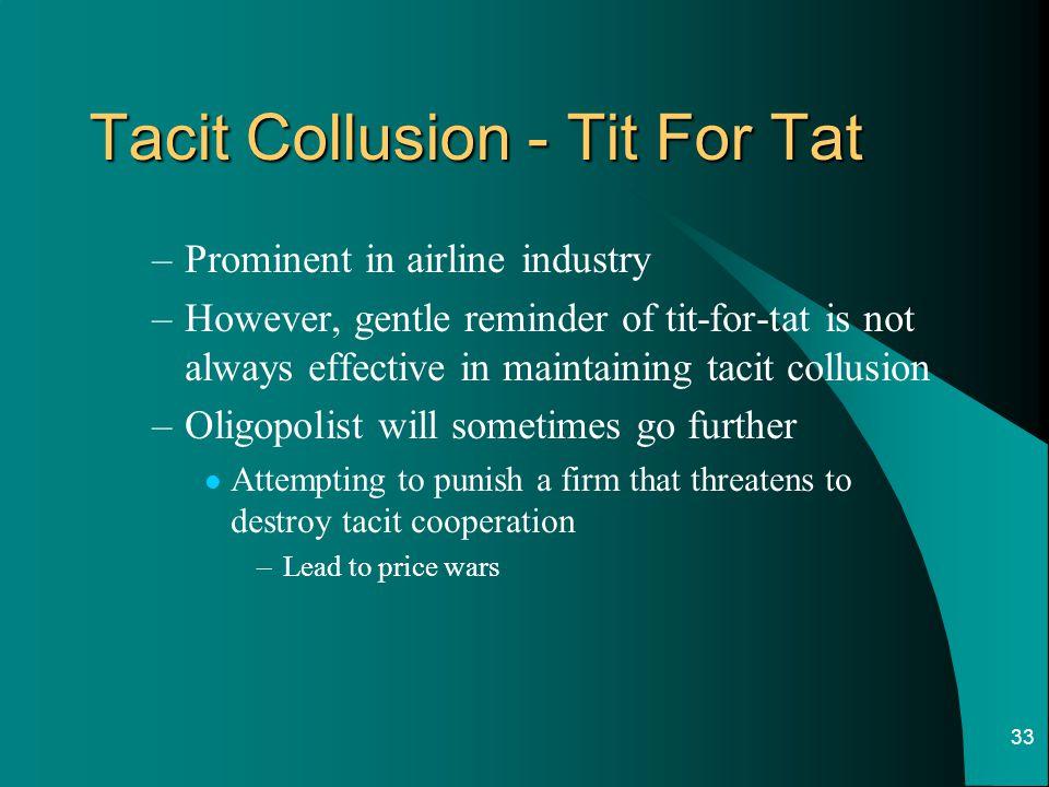 Tacit Collusion - Tit For Tat