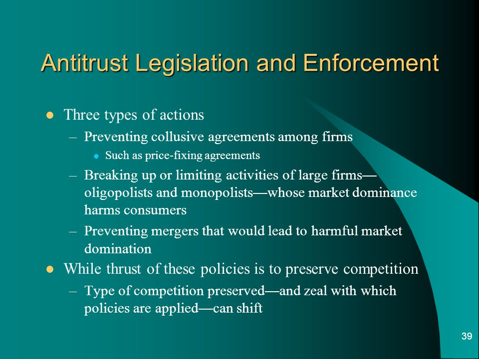 Antitrust Legislation and Enforcement