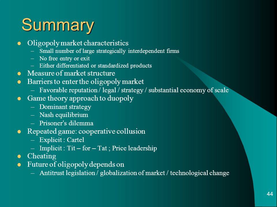 Summary Oligopoly market characteristics Measure of market structure