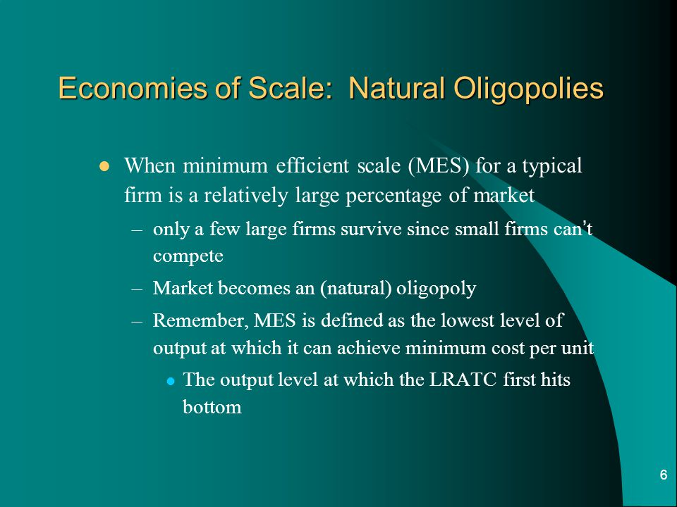 Economies of Scale: Natural Oligopolies
