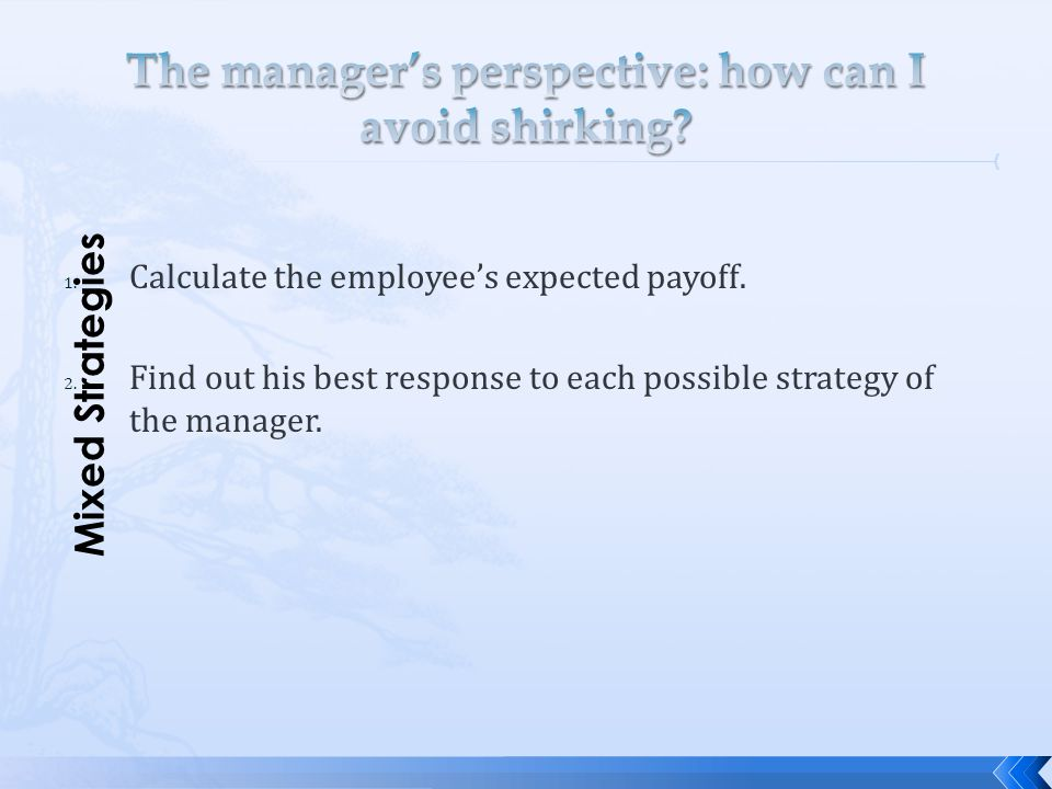 The manager's perspective: how can I avoid shirking