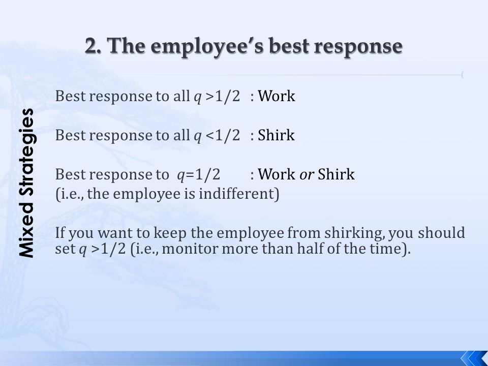 2. The employee's best response