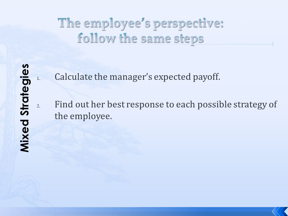 The employee's perspective: follow the same steps
