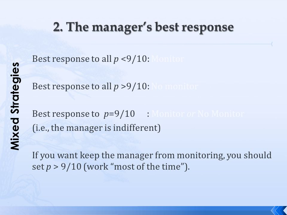 2. The manager's best response