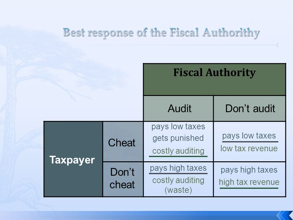 Best response of the Fiscal Authorithy