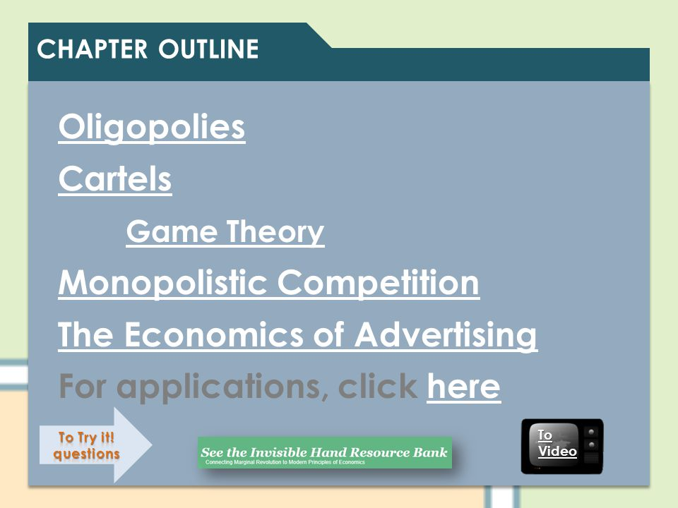 Monopolistic Competition The Economics of Advertising