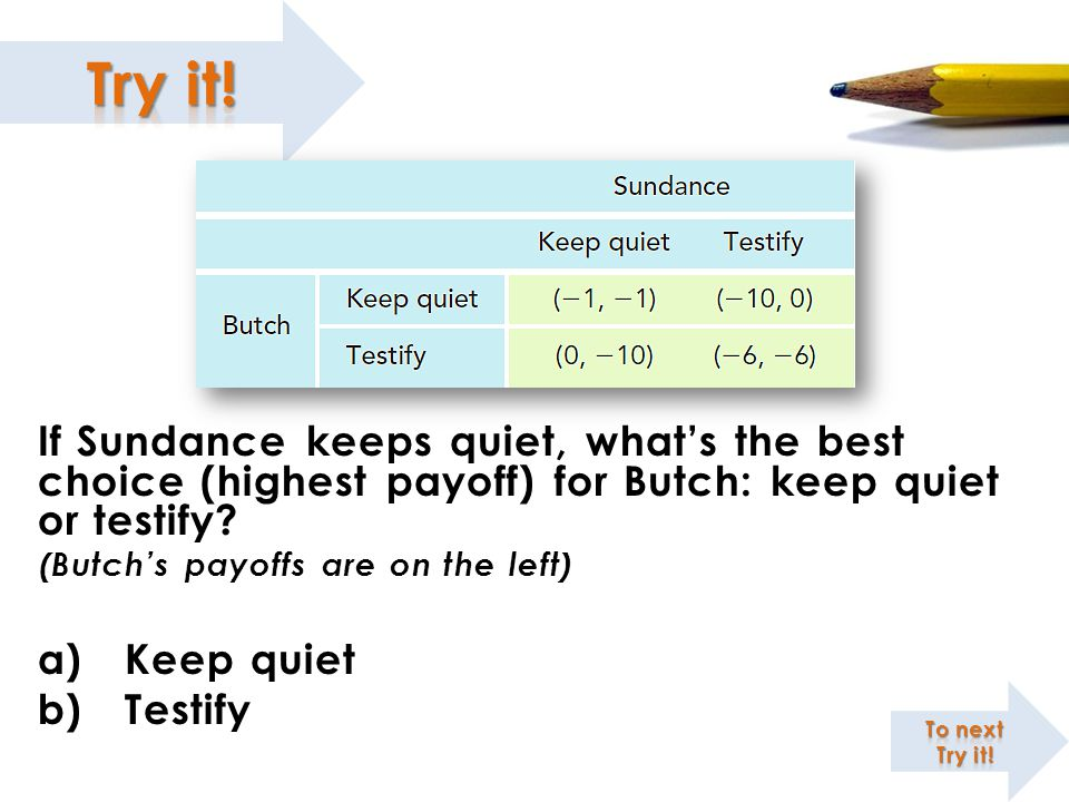 If Sundance keeps quiet, what's the best choice (highest payoff) for Butch: keep quiet or testify
