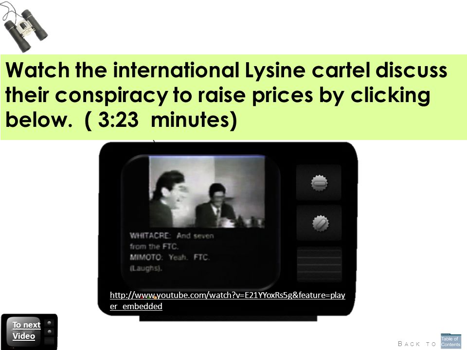Watch the international Lysine cartel discuss their conspiracy to raise prices by clicking below. ( 3:23 minutes)
