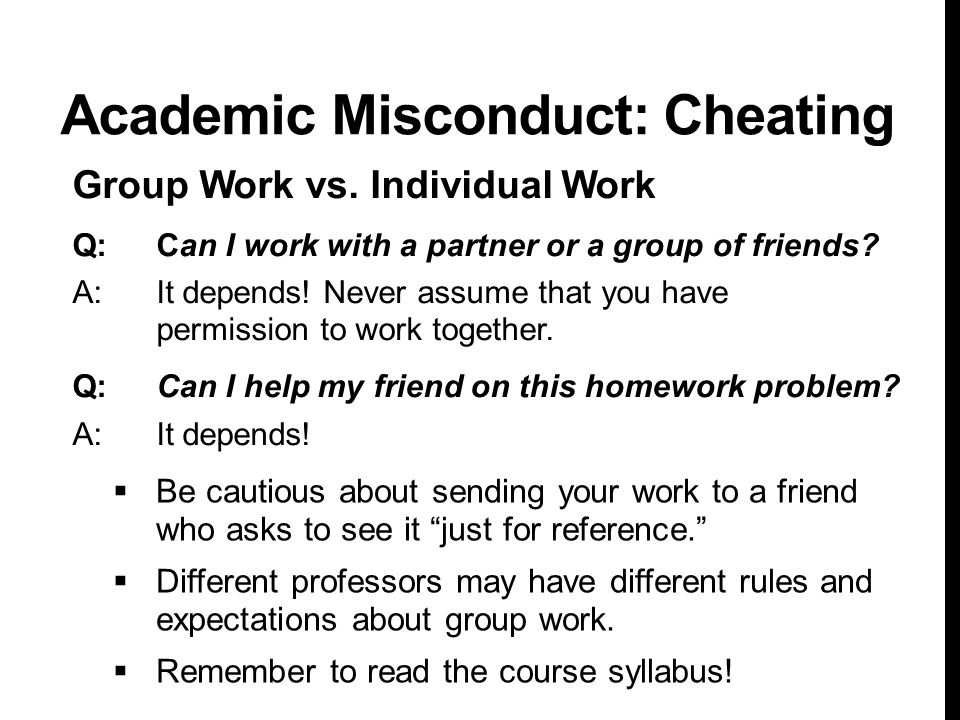 Academic Misconduct: Cheating