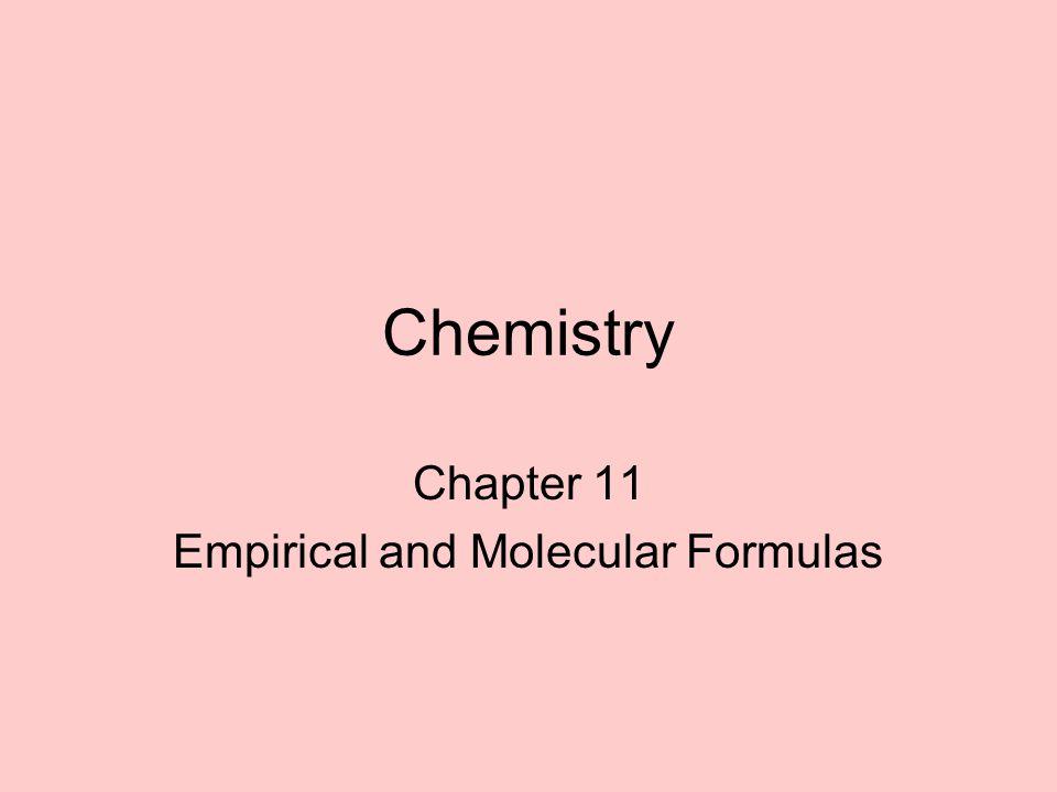 Chapter 11 Empirical and Molecular Formulas