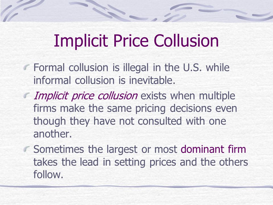 Implicit Price Collusion