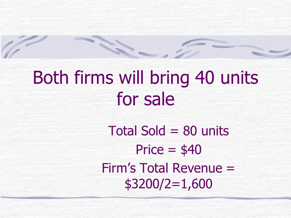 Both firms will bring 40 units for sale