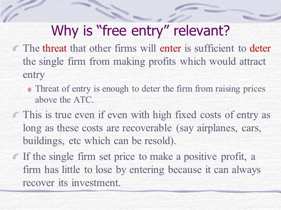 Why is free entry relevant