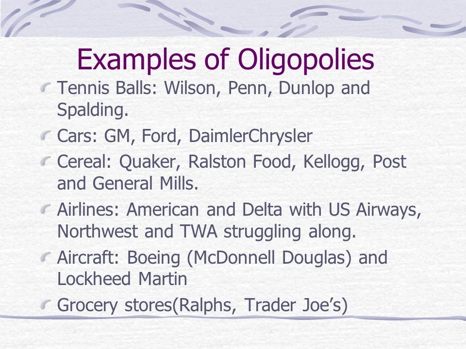 kellogg oligopoly 1970s against kellogg, general mills, and general foods the empirical   literature on the conjectural variation approach to modeling oligopoly behavior.