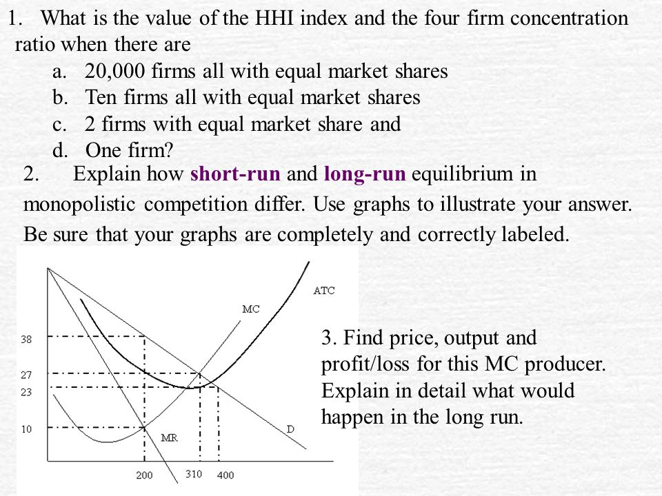 What is the value of the HHI index and the four firm concentration ratio when there are
