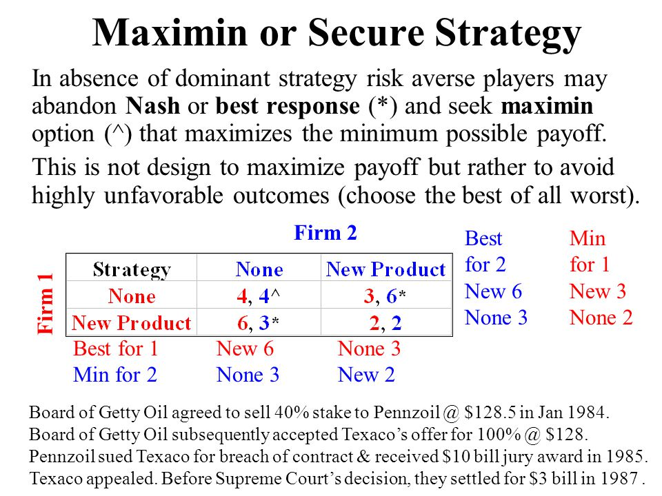 Maximin or Secure Strategy