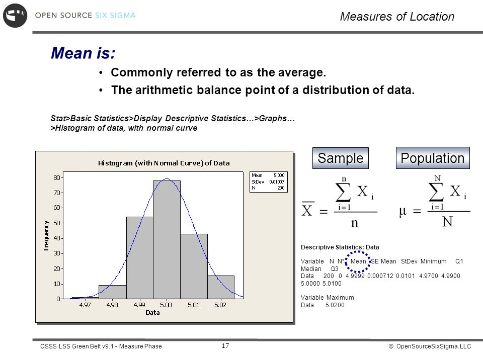 Mean is: Sample Population Measures of Location