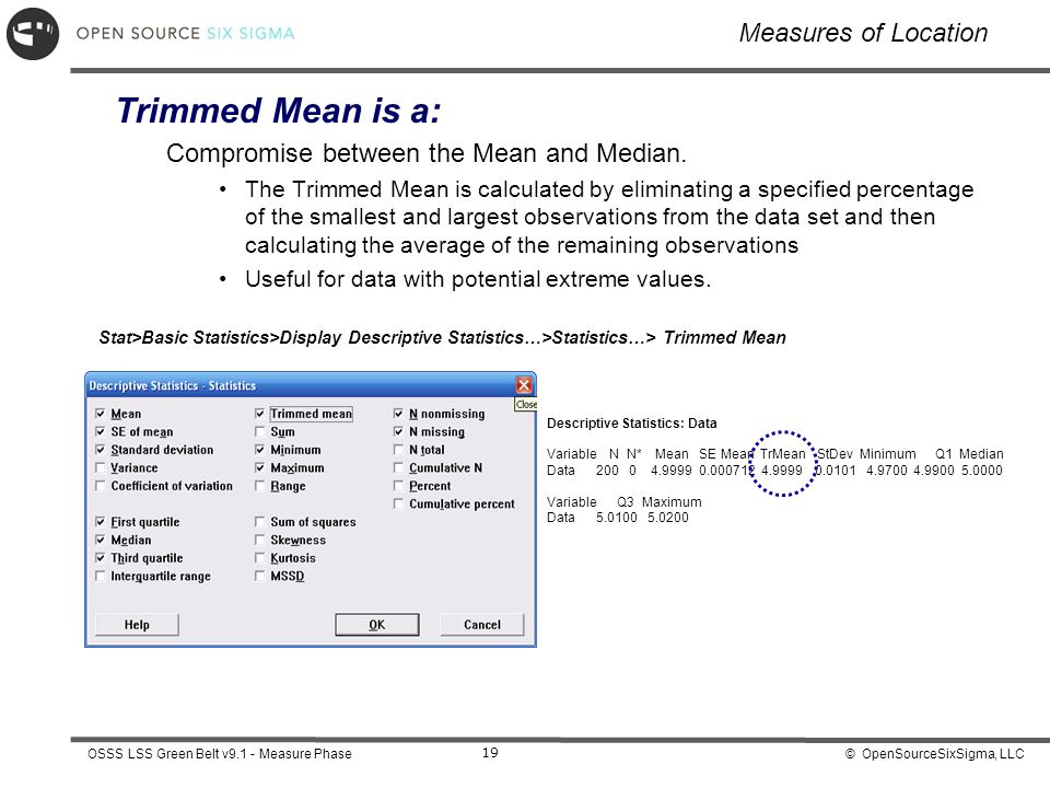 Trimmed Mean is a: Measures of Location