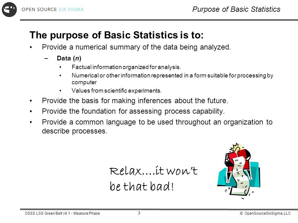 Purpose of Basic Statistics