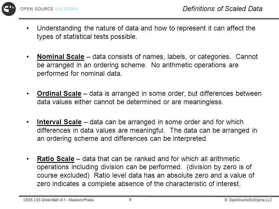 Definitions of Scaled Data