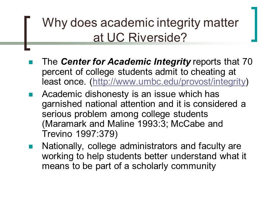 Why does academic integrity matter at UC Riverside